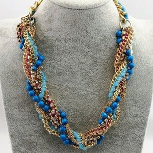 Pretty Blue Beaded Crystal Necklace